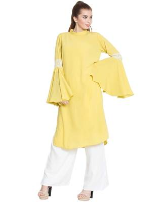 Aaima-Bell Sleeves Kurti With Lace Detailing-Lemon-Yellow