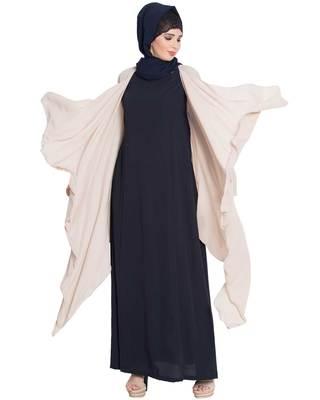 Full Sleeves Shrug And Abaya Combo-Light Beige-Navy Blue