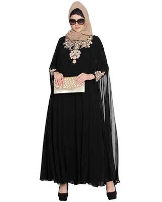 Azza-Two Pieces Set-Designer Abaya With Embroidery On Sleeves And Yoke.
