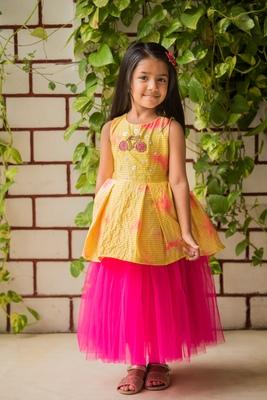 Pink printed net stitched lehenga