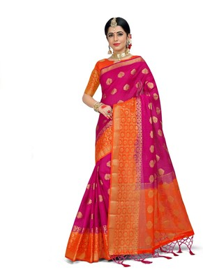 Rani pink woven linen saree with blouse