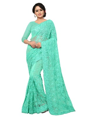 Sea green embroidered net saree with blouse