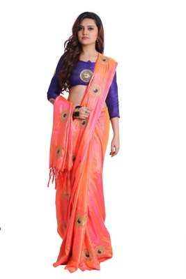 Peach two-tone Paper Silk Embroidered Saree with unstitched Blouse