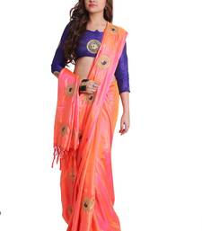 Peach two-tone Paper Silk Embroidered Saree with unstitched Blouse art-silk-saree