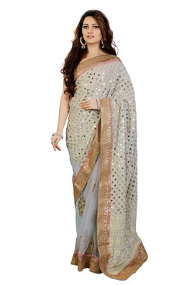 Light blue Embroidered and Mirror work Georgette Saree with unstitch Blouse