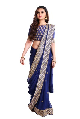 Navy Georgette Embroidered saree with unstitch blouse