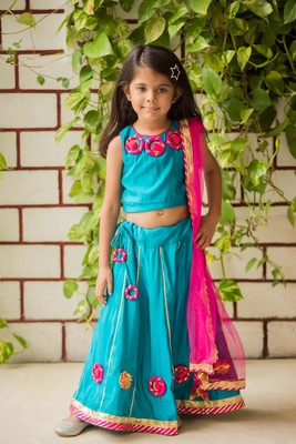 Teal embroidered art silk stitched lehenga
