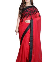 Red embroidered georgette saree with blouse georgette-saree