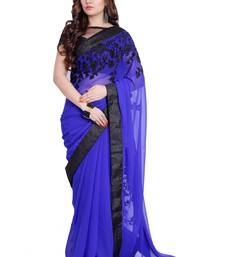 Buy Blue embroidered georgette saree with blouse georgette-saree online