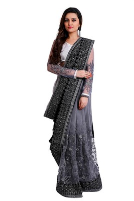 Black and silver designer embroidered party wear saree with unstitch blouse