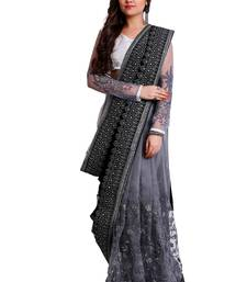Buy Black and silver designer embroidered party wear saree with unstitch blouse net-saree online
