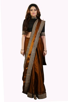 Golden Tissue embroidered border Party wear saree with Unstitch blouse