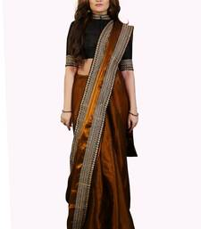 Buy Golden Tissue embroidered border Party wear saree with Unstitch blouse tissue-saree online