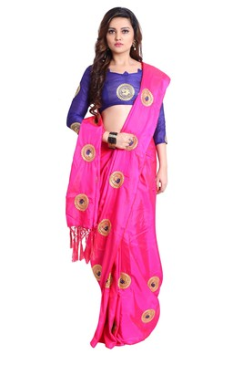 Pink paper silk embroidered saree with unstitched blouse