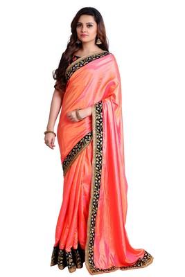 Orange soft silk embroidered border saree with unstitch blouse