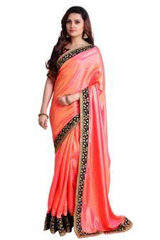 3204448d79 Orange soft silk embroidered border saree with unstitch blouse