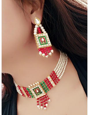 Alloy Beaded Wedding Necklace Set for Women Gold Plated