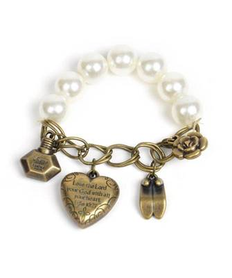 Heart and Pearl Charm Bracelet(CFB0002)