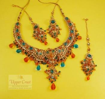 Polki Multigemstones Bridal Necklace Earring Maang Tikka Set