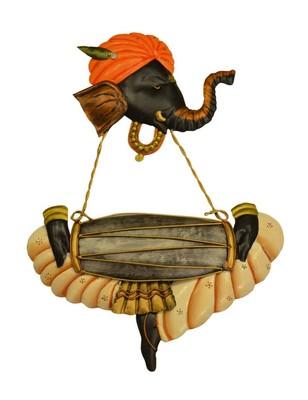 Karigaari India Wrought Iron Ganesha Playing Dholak Hanging