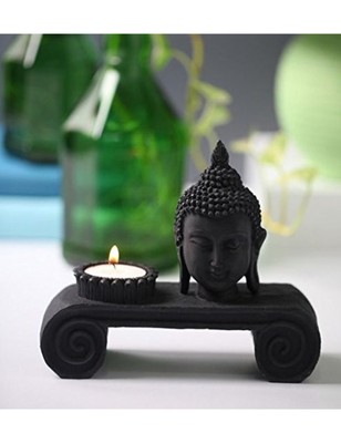 Karigaari India Carving Buddha Tray with Candle Holder Showpiece