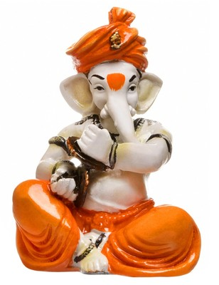 Karigaari India Handcrafted Ganesha Playing Manjeera Showpiece I Best Gifting Option (Size : 5 x 4 x 5 inches)