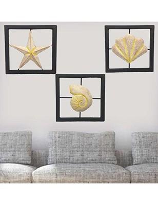 Karigaari India Wrought Iron Set of 3 Designer Wall Hanging Showpiece - Yellow & Pink