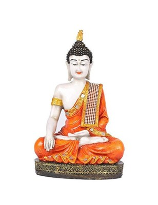 Karigaari India Meditating Buddha Showpiece - Orange Color