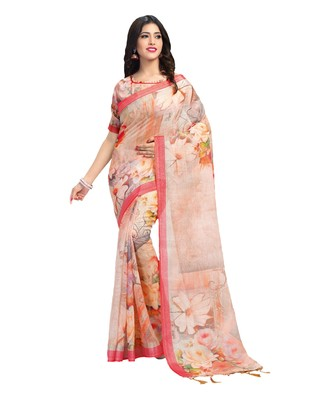 Peach bengal handloom linen saree with blouse