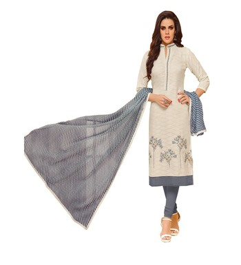 White Jacquard Cotton Women's Salwar Suit
