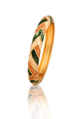 Just Women - Enameled and Gold Plated Bracelet (Green)