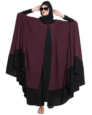Doha-Two Piece  Designer Irani Kaftan-Wine-Black