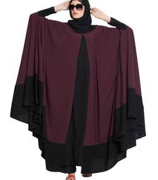 DOHA-TWO PIECE  DESIGNER IRANI KAFTAN-WINE-BLACK