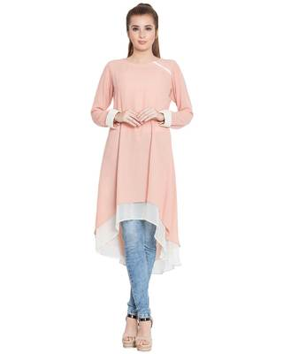 Danya-Double Layered Kurti-Pink-Off White