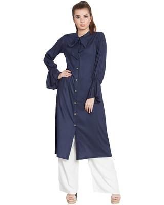 Manah-Bell Sleeves Long Kurti-Blue