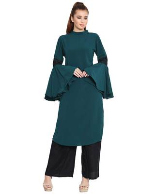 AAIMA-BELL SLEEVES KURTI WITH LACE DETAILING-DARK GREEN