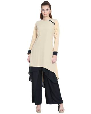 Danya-Double Layered Kurti-Beige-Black