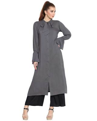 Manah-Bell Sleeves Long Kurti-Grey