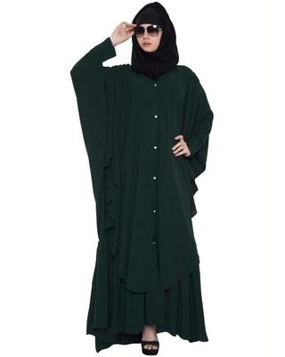Designer Abaya With Falling Panels And Frilled Bottom- Green