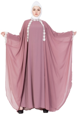 Queen Designer Abaya Dress - Puce Pink