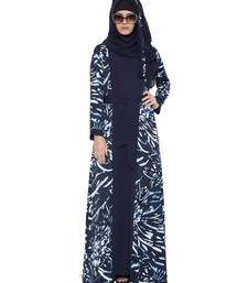 Whimsical Attached Shrug Abaya In Double Layer-Navy Blue-White