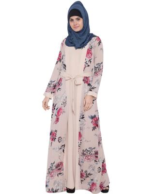 Whimsical Attached Shrug Abaya In Double Layer-Light Beige Print