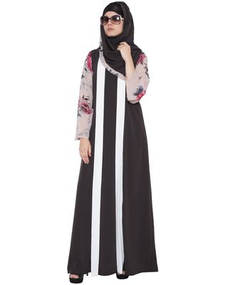 Gorgeus Abaya In Double Layer-Dark Grey-Beige