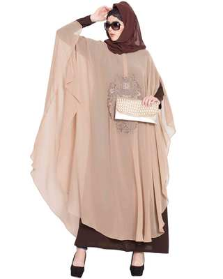 Ecrin- Two Pieces Set-Embroidered Cape With Inner Abaya