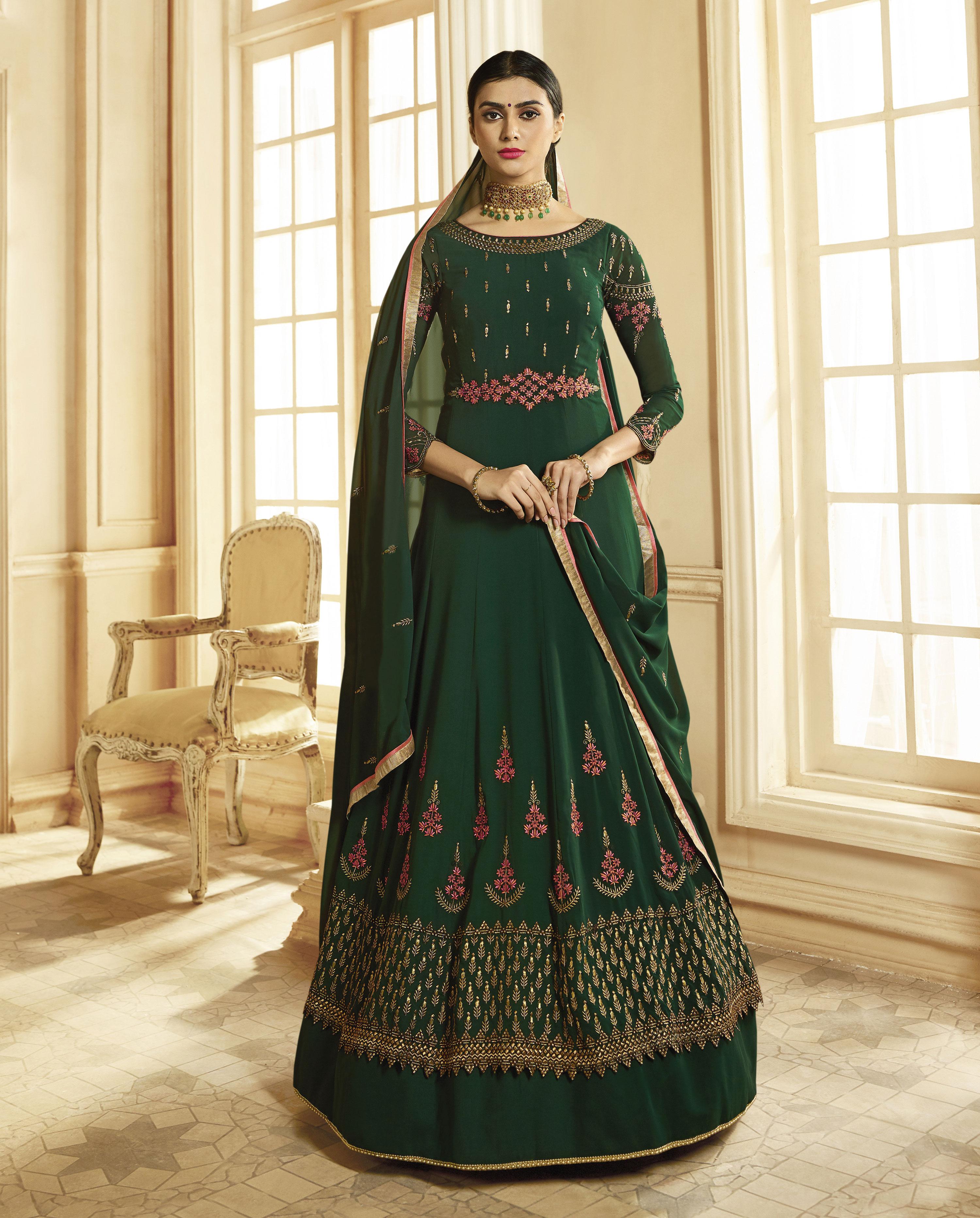 Dark Green Embroidered Georgette Anarkali Salwar Real Saree 2802591