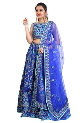 Blue Embroidered Lehenga choli with Dupatta