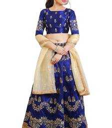 Blue Mulberry art silk Embroidered lehenga Choli with Dupatta