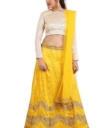 Yellow Mulberry silk Embroidered lehenga Choli with Dupatta