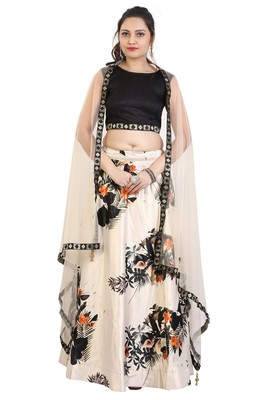 Cream printed art silk semi stitched lehenga