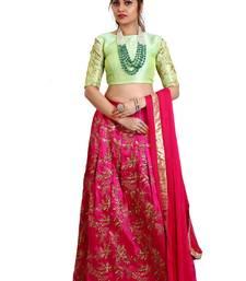 Pink Mulberry silk Embroidered lehenga Choli with Dupatta